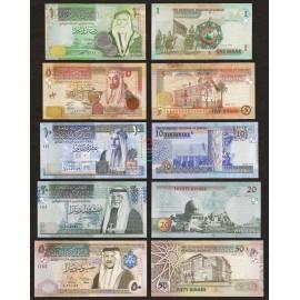 Jordan 1, 5, 10, 20, 50 Dinars Set 5 PCS, 2009-12, P-34e, 35d, 36d, 37c, 38e, UNC
