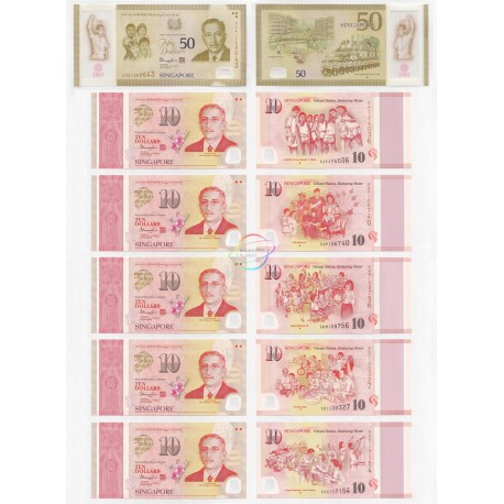 Singapore 50 Dollars & 10 Dollars X 5 PCS Set 6 PCS, SG50 Commemorative, 2015, Polymer, P56-61, UNC