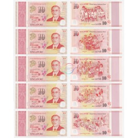 Singapore 10 Dollars X 5 PCS, SG50 Commemorative, 2015, Polymer, P56-60, UNC