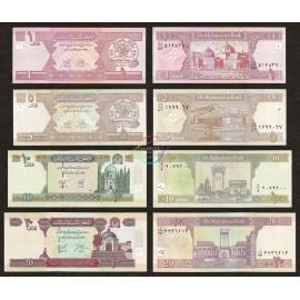 Afghanistan 1, 5, 10, 20 Afghanis Set, 2002-04, P-64, 66, 67, 68, UNC