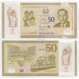 Singapore 50 Dollars, SG50 Commemorative, 2015, Polymer, P-61, UNC