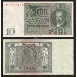 Germany 10 Reichsmark, 1929, P-180b, AU