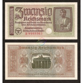 Germany 20 Reichsmark, 1940-45, P-R139, AU