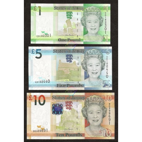 Jersey 1, 5, 10 Pounds Set 3 PCS, QE II, 2010, P-32, 33, 34, UNC
