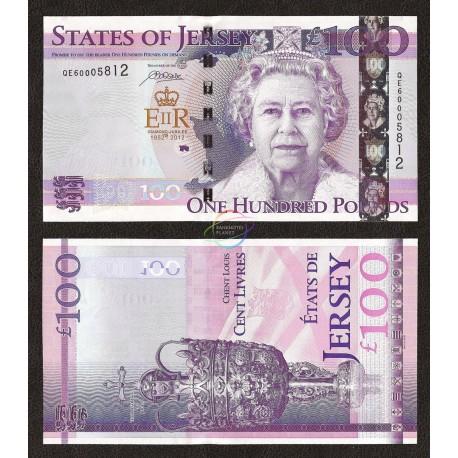 Jersey 100 Pounds, QE II, Commemorative, 2012, P-37, UNC