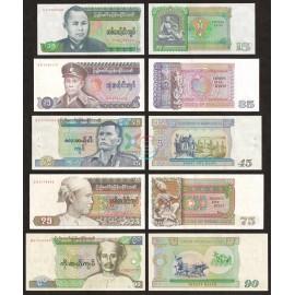 Burma 15, 35, 45, 75, 90 Kyats Set, 1985-87, P-62, 63, 64, 65, 66, AU-AUNC