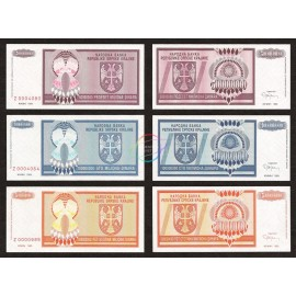 Croatia 50, 100, 500 Million Dinara Set, Replacement, 1993, P-R14, R15, R16, UNC