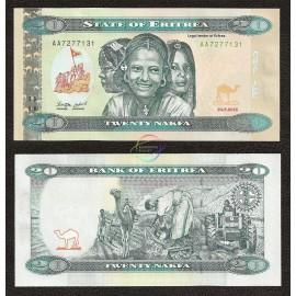 Eritrea, P-New, 20 Nakfa, 2012, UNC