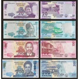 Malawi 20, 50, 100, 200 Kwacha Set 4 PCS, 2012-2013, P-57, 58, 59, 60, UNC
