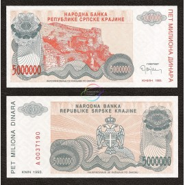 Croatia 5 Million Dinara, 1993, P-R24, UNC