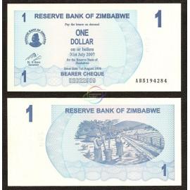 Zimbabwe 1 Dollar, Bearer Cheque, 2006, P-37, UNC