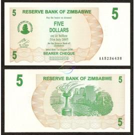 Zimbabwe 5 Dollars, Bearer Cheque, 2006, P-38, UNC