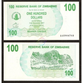 Zimbabwe 100 Dollars, Bearer Cheque, 2006, P-42, UNC
