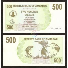 Zimbabwe 500 Dollars, Bearer Cheque, 2006, P-43, UNC