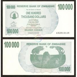 Zimbabwe 100,000 Dollars, Bearer Cheque, 2006, P-48, UNC