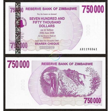 Zimbabwe 750,000 Dollars, Bearer Cheque, 2007, P-52, UNC