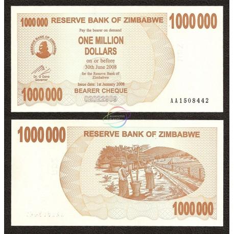 Zimbabwe 1,000,000 Dollars, Bearer Cheque, 2008, P-53, UNC