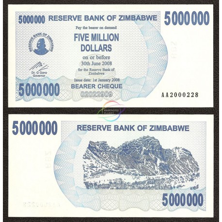 Zimbabwe 5,000,000 Dollars, Bearer Cheque, 2008, P-54, UNC
