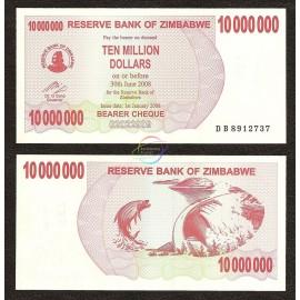 Zimbabwe 10 Million Dollars, Bearer Cheque, 2008, P-55, UNC