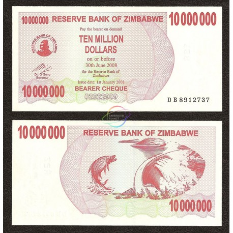 Zimbabwe 10 Million Dollars, Bearer Cheque, 2008, P-55, UNC