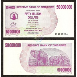 Zimbabwe 50 Million Dollars, Bearer Cheque, 2008, P-57, UNC