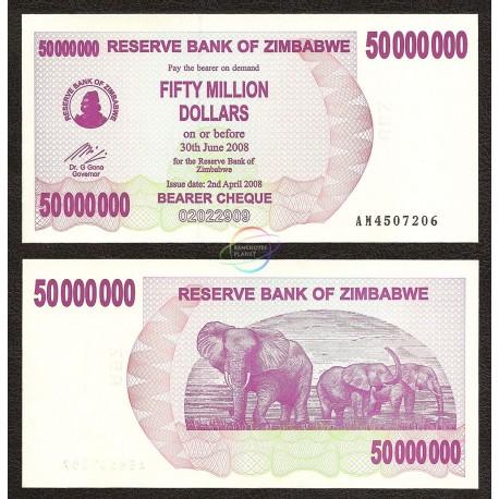 Zimbabwe 50 Million Dollars, Bearer Cheque, 2008, P-57, UNC