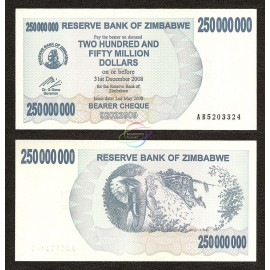 Zimbabwe 250 Million Dollars, Bearer Cheque, 2008, P-59, UNC