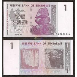 Zimbabwe 1 Dollar, 2007, P-65, UNC