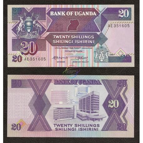 Uganda 20 Shillings, 1987, P-29a, UNC
