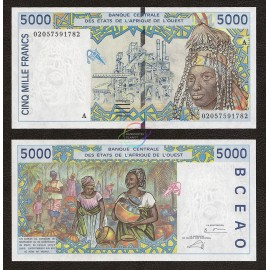 West African States, Ivory Coast 5000 Francs, 2002, P-113A, UNC