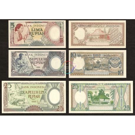 Indonesia Set 3 PCS 5, 10, 25 Rupiah, 1958, P-55, 56, 57, UNC