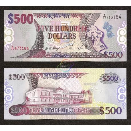 Guyana 500 Dollars, 2002, P-34, UNC
