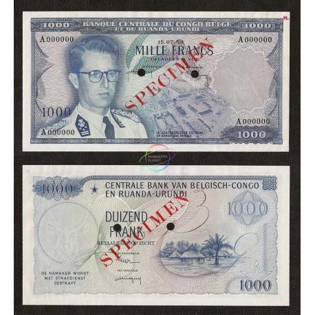 Belgian Congo 1000 Francs, P-35, 1958, SPECIMEN, UNC