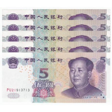 China 5 Yuan X 5 PCS, 2005, P-903, UNC