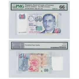 Singapore 50 Dollars, 1999, Solid 4, P-41a, PMG 66 EPQ GEM UNC