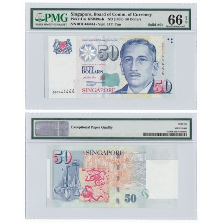 Singapore 50 Dollars, 1999, Solid 4, P-41a, PMG 66 EPQ GEM UNC
