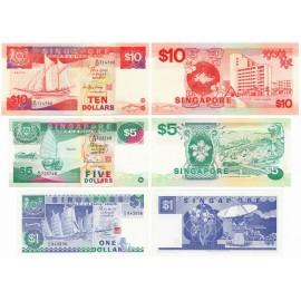 Singapore 1, 5, 10 Dollars Set, 1987-89, P-18a, 19, 20, UNC