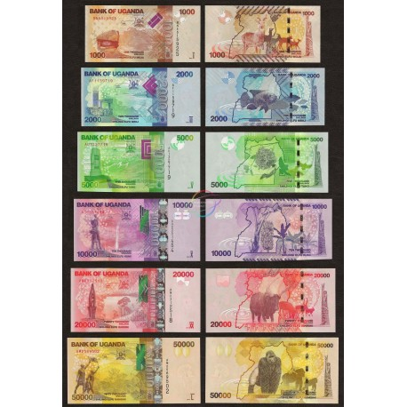Uganda 1000, 2000, 5000, 10000, 20000, 50000 Shillings Set 6 PCS, 2010-13, P-49, 50, 51, 52, 53, 54, UNC