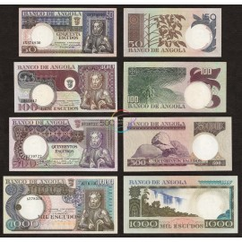 Angola 50, 100, 500, 1000 EscudosSet 4 PCS, P-105-108, 1973, UNC