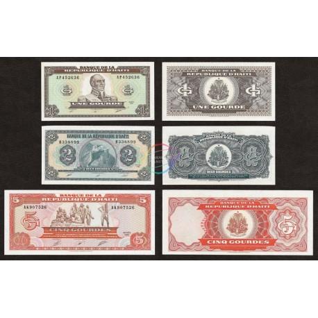 Haiti Set 3 PCS 1, 2, 5 Gourdes, 1989-90, P-253, 254, 255, UNC