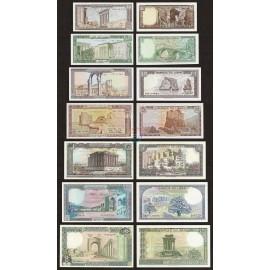 Lebanon 1, 5, 10, 25, 50, 100, 250 Livres Set 7 PCS, 1980-88, P-61, 62, 63, 64, 65, 66, 67, UNC