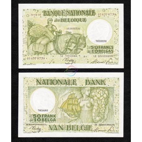 Belgium 50 Francs, 1945, P-106, AU