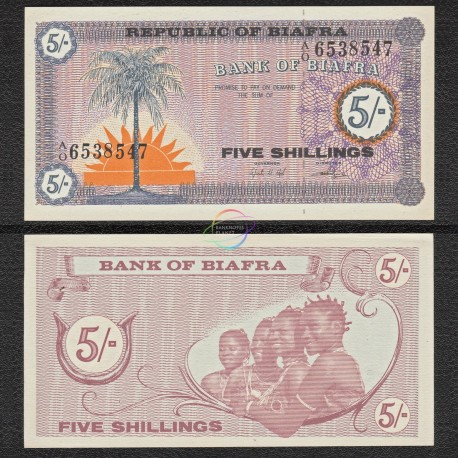 Biafra 5 Shillings, 1967, P-1, UNC