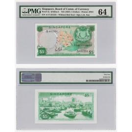 Singapore 5 Dollars, 1967, P-2a, PMG 64 UNC