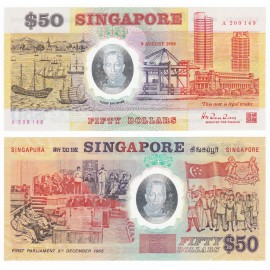 Singapore 50 Dollars w/Folder, Commemorative, 1990, P-30, Polymer, UNC
