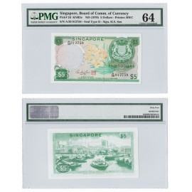 Singapore 5 Dollars, 1970, P-2d, PMG 64 UNC