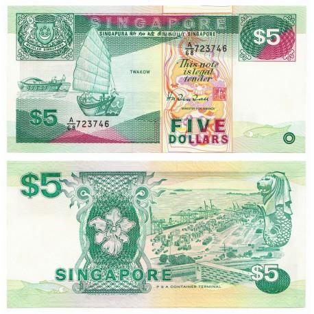 Singapore 5 Dollars, 1989, P-19, UNC