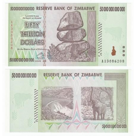 Zimbabwe 50 Trillion Dollars, 2008, P-90, UNC