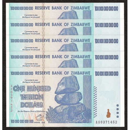 Zimbabwe 100 Trillion Dollars X 5 PCS, P-91, 2008, UNC