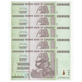 Zimbabwe 50 Trillion Dollars X 5 PCS, P-90, 2008, UNC